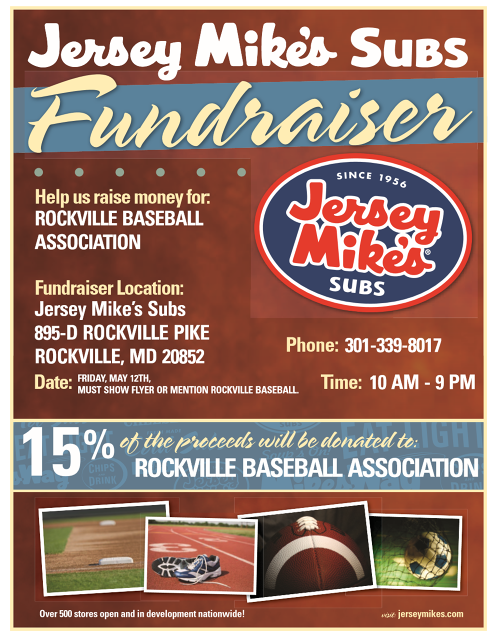 Show this flyer at Jersey Mike's on May 12 to help raise funds for the RBBA!