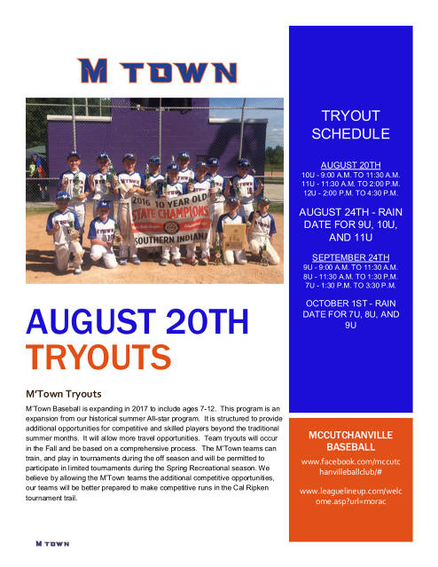 M'Town Tryout Schedule