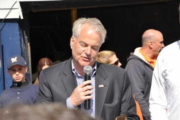 Staten Island Representative, Congressman Michael McMahon addresses the crowd opening day