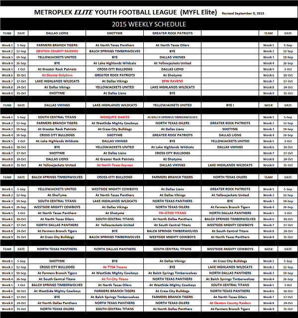 2015 MEYFL Schedule