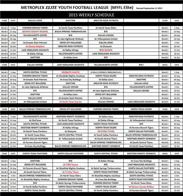 2015 MEYFL Schedule