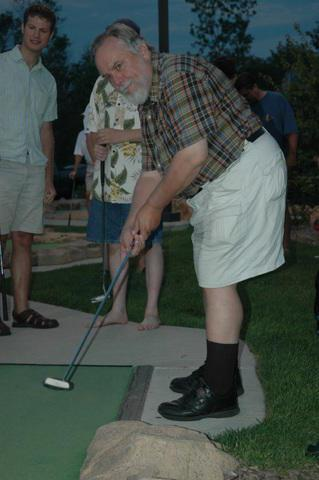 Skip shows the putting form that drives all the teenagers wild at Libertyville.