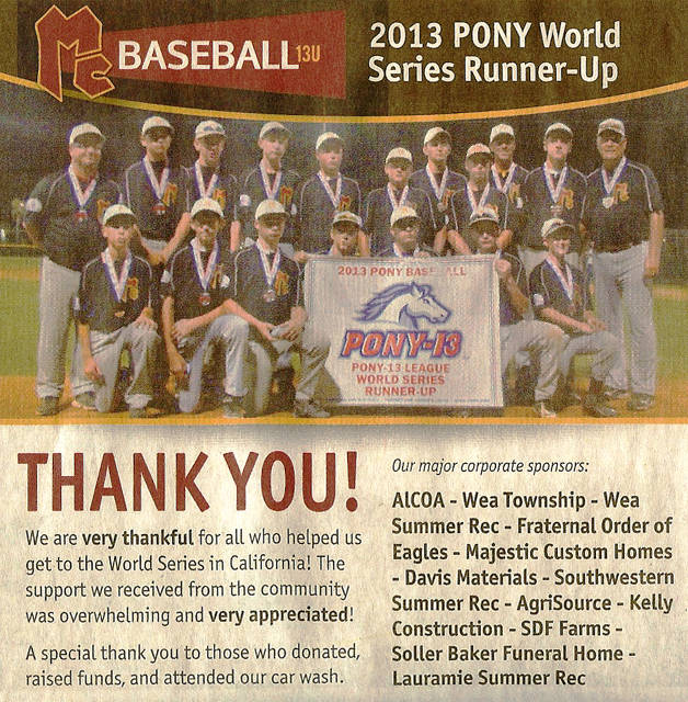 2013 13U World Series Thank you Ad