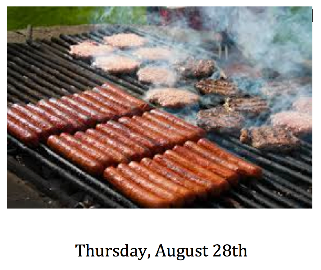 2014 Welcome cookout Thursday August 28 at 5:00 PM