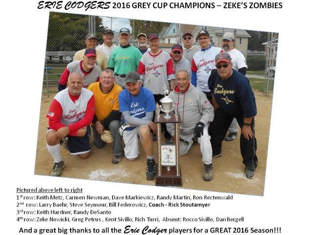 Erie Codgers 2016 Grey Cup Champions -Zekes Zombies