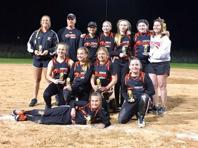 On May 13 in Appleton, the 12U Cougars won five straight games to play in the championship game under the lights. They lost to a very good Slinger team, but ended the tourney with some hardware! Congratulations, Ladies!