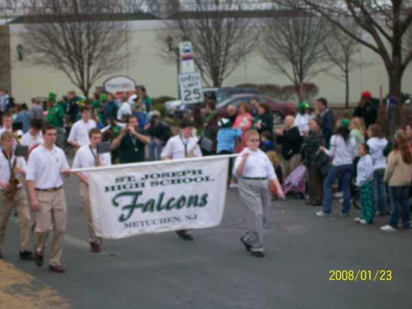 Marching in the parade for the first time was The Saint Joseph High School Marching Band.