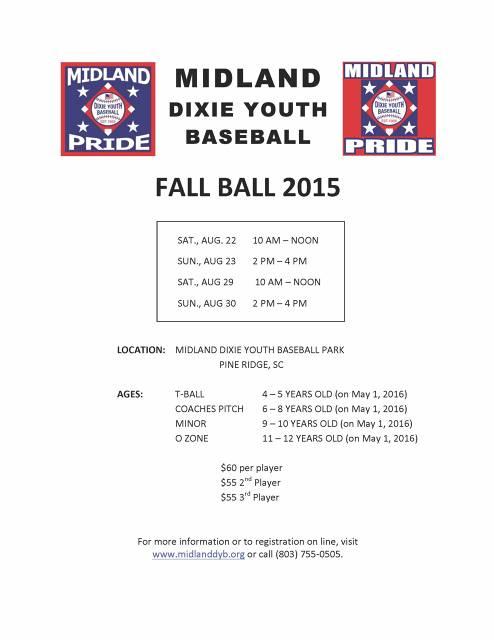 2015 MDYB Fall Ball Flyer