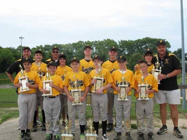 2009.  The 12UB Travel Eagles won the 55th Annual LFYAA Tournament 12U-A Division.  1st row: Chris Corbin, Conner Johnson, Christian Johnson, Kyle Karn, Eric Grim, Justin Zakens. 2nd row: Coach Troy Morris, Jessie Morris, Coach Mike Weiss, Austin Weiss, David Garland, Austin Andrae, Matt Wolanin, Head Coach Gene Wolanin
