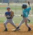 2008.  Pasadena Baseball hosted a 16-team pre-season 8U Coach Pitch Scrimmage Tournament with teams from Pasadena, Greater Glen Burnie, and Elvaton.  Here, a runner from the Pasadena Marlins is out at second against the GGB Mets.