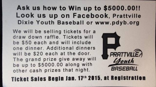 Draw Down tickets on sale beginning January 17th at Registration