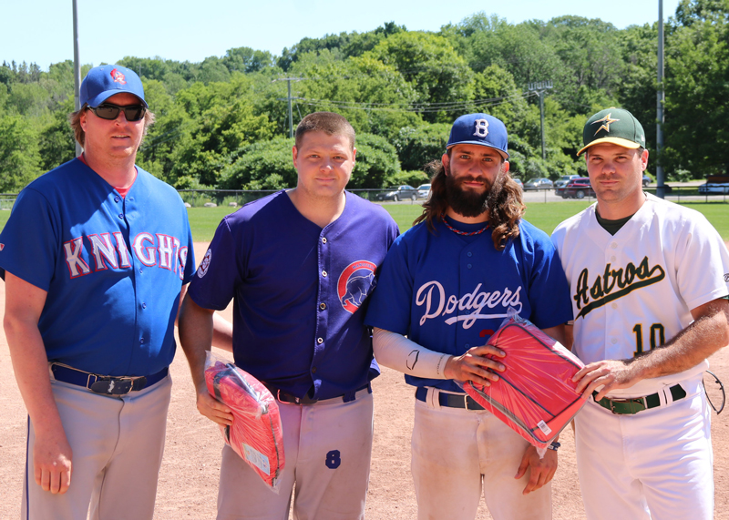 <h4><b>2017 Senior Division All-Star Game: Most Valuable Player Presentation</b></h4> <h4> Tyler Linger of the West Stars (centre left) and Tyson Hansen of the East Stars were named game most valuable players and receive prizes from league vice president Jesse McIntyre and secretary Scott Anderson. Linger hit two singles and pitched three innings allowing one run on three hits striking out two batters. Hansen went 2 for 2 with a homerun and a double.</h4> <h5 align=right>(David Anderson photo)</h5>