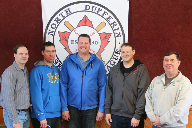 <h4><b>2017 North Dufferin Baseball League Executive</b></h4> <h4>From left: Secretary Scott Anderson, Past President Chris Esson, Vice President Jesse McIntyre, President Tyler Linger, Treasurer Dan Gowan.</h4> <h5 align=right>(David Anderson photo)</h5>