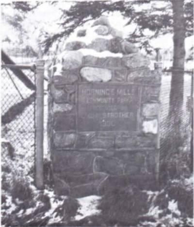(Photo) Stone Piller at Horning's Mills Ball Park