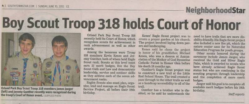 Troop 318 Spring Court of Honor in the SouthTown Star  on June 10