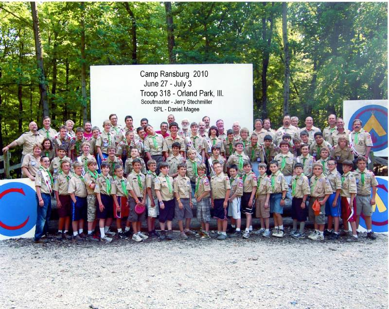Troop 318 at camp Ransburg 2010.  SPL - Daniel Magee Scoutmaster - Jerry Stechmiller