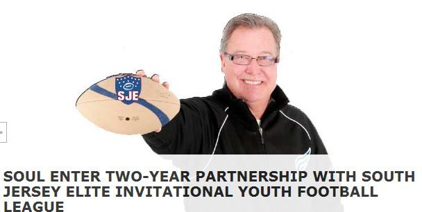 The 2012 American Conference Champion Philadelphia Soul, presented by Parx Casino, announce a Two-Year partnership with South Jersey Elite Invitational Youth Football League (SJEIYFL).
