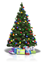 Christmas Tree with lights and Presents