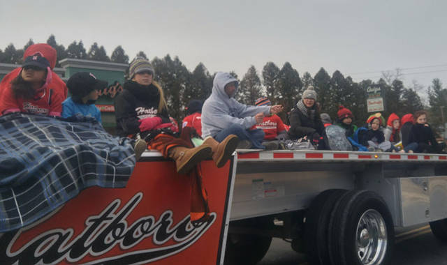 Side view of the float as it headed down York Rd.