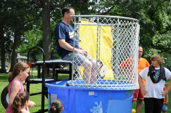 Concordia Charger Coach Corey Wiegand ready to be dunked.