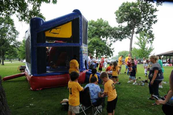 One of three inflatables at end of season party.