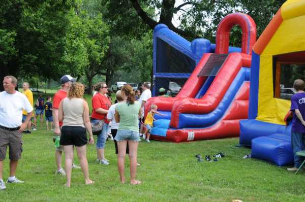 Inflatables at end of season party.