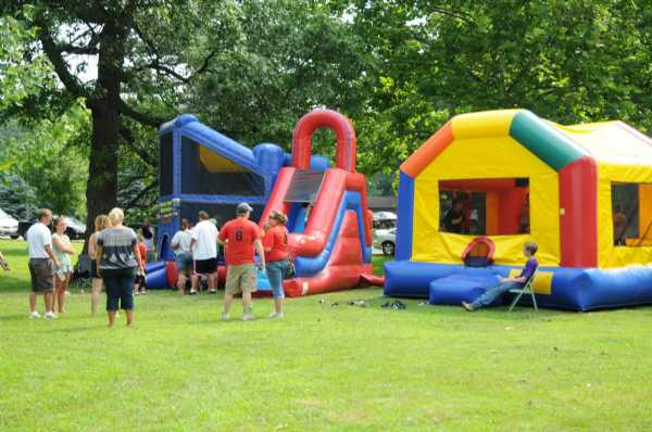 Two bounce houses from House of Bouncers.
