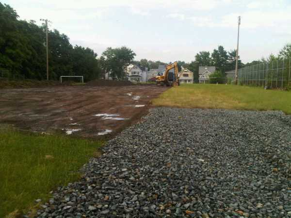 June 10, 2010 - Construction of the new rink has started at Volunteer Field on Sparta Drive. (Photo: R. Baum)