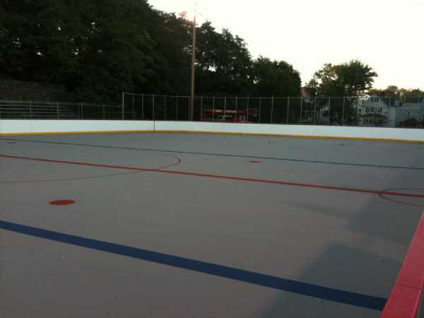 A view of the new rink from the south (home) blueline facing north towards Marin Avenue.