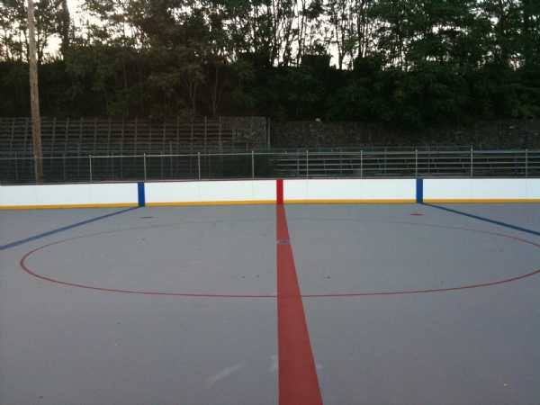 The expanded neutral zone of the new rink as seen from the referee's crease.