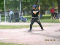Junior Hawk Ryan showing good form in his at-bat against a tought lefty pitcher from Verdun.
