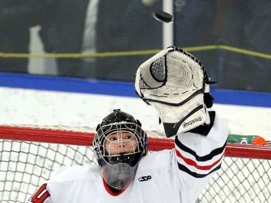 Penfield goalie Lindsay Browning tracks the puck over