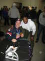 """""""Gold"""" meets """"Black and Gold"""".  Mutual respect between two amazing athletes.  2014 Paralympic Gold Medalist Dan McCoy and Pittsburgh Steeler LaRod Stephens-Howling."""