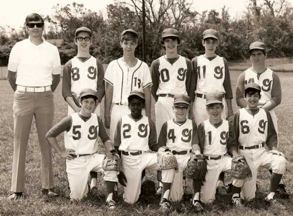 BACK ROW (L TO R):COACH BILL KING,JIM SOWELL,NICKY STEWART,HARLEY PINKERMAN,LAWRENCE HUNLEY,RANDY DAVIS