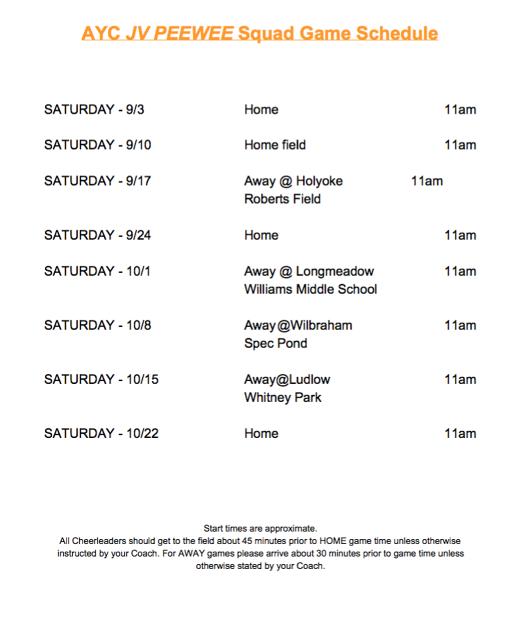 JV PeeWee Schedule