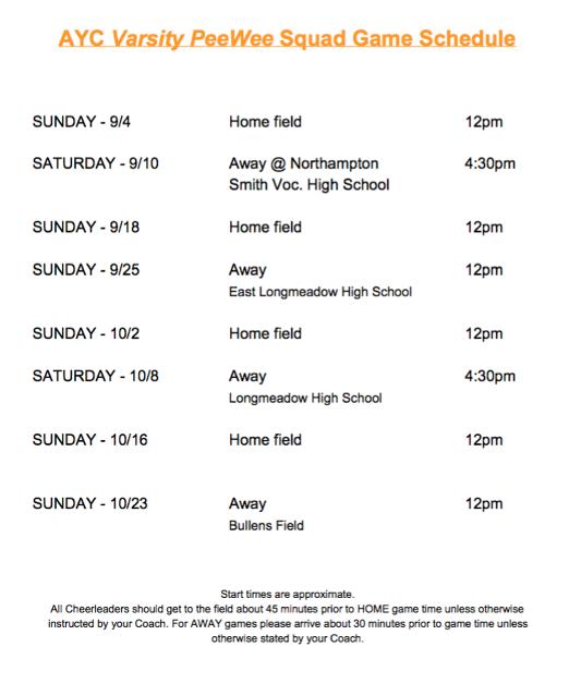 Varsity PeeWee Squad Schedule