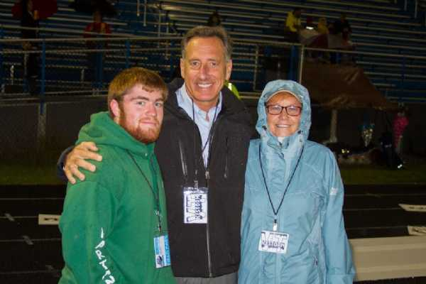 The Governor with Jeff Grant and Linda Salmon.  Jeff is the teams Ball Boy on the sideline and Linda is Head of Game Day Operations.