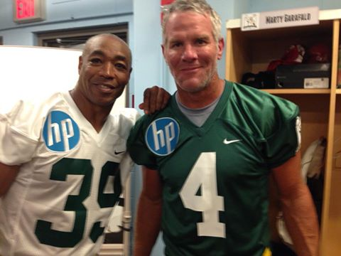 Carl Lee and Brett Farve at Brett Farve's Legends Game