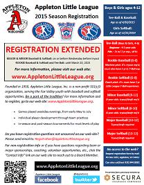 2015 Appleton Little League Registration flyer