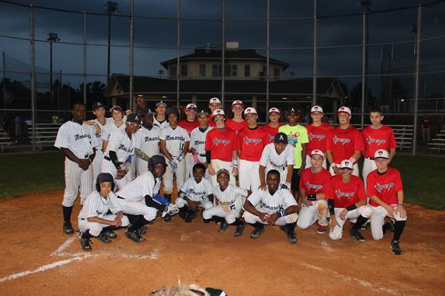 This is a picture of the Anderson Monarchs from Philadelphia, Pa. and the Oldham Co. Vipers after they played an exhibition gave at Skyview Park on Wednesday night