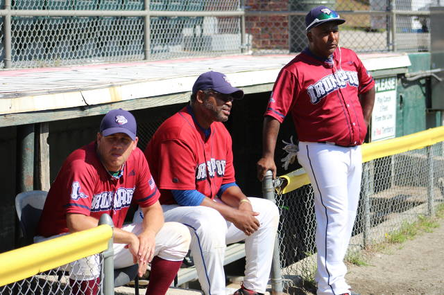 IronPigs Captain Rick Berry (center) flanked by Randy Dickens (left) and Assistant Coach Frankie Trinidad (right)