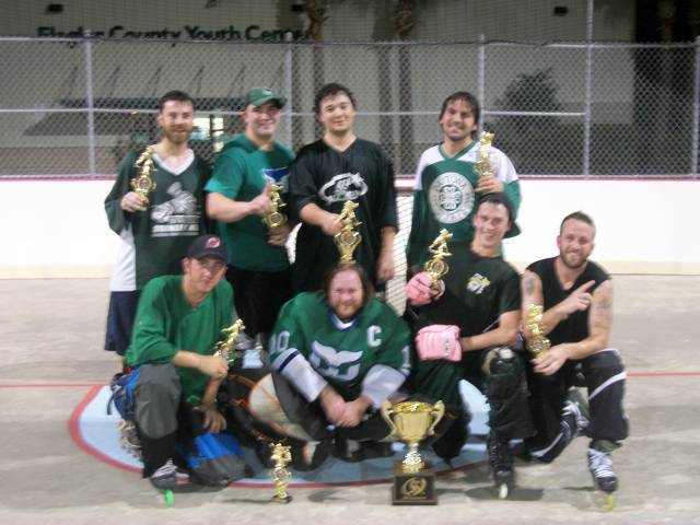 Whalers - (front row, from left to right) Tim Perham, Mike Scavarda, Andrew Kemper, Billy Parker (back row, from left to right) Steve Suriano, Pete Pappargeris, Mike Campanaro, Jon Cassel