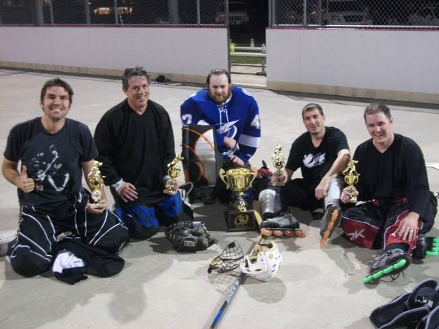 (Left to right)) Jon Cassel, Dennis Kemper, Mike Scavarda (goalie), Matt Narin, Josh Wallace  (Not pictured) - Larry Tanenbaum, Brad Godfrey