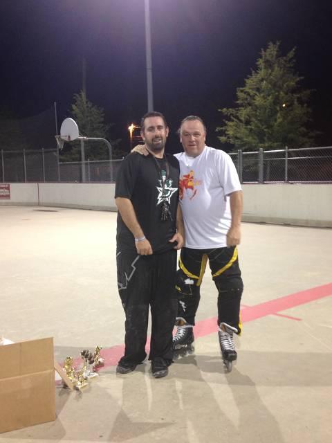 """Mr. Sportsmanship"" Scott Hantz celebrates his award with a reluctant Bobby Perham"