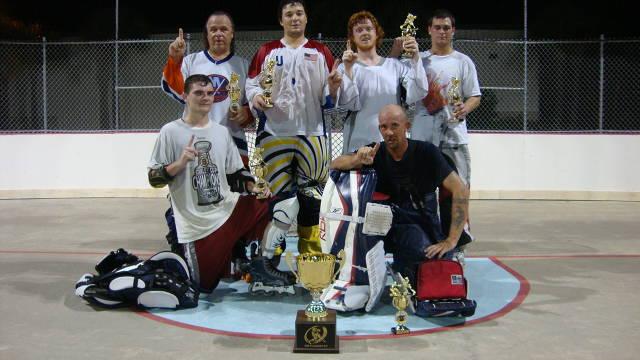 (Back Row - left to right)) Scott Hantz, Mike Campanaro (Captain), Danny McIntyre, Anthony Cimirro (Front Row) Ryan Gillespie, Matt Wentworth (Goalie)  (Not pictured) - Jon Cassel, Steve Suriano