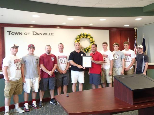 Warriors baseball team and coaches at town council