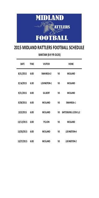 2015 Midland Rattlers Schedule - Bantam