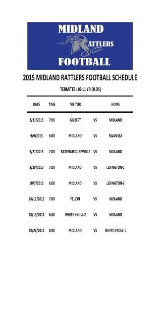 2015 Midland Rattlers Schedule - Termites