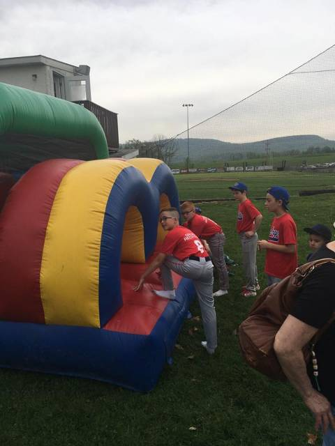 Some of the kids getting ready to board the Obstacle Course Bounce House.