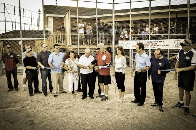 Ribbon cutting for the official opening of the new Clubhouse and ball field